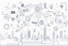 Il collegamento di rete internet di Media Communication del sociale sopra paesaggio urbano di vista del grattacielo della città h Immagine Stock