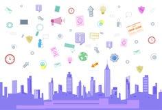 Il collegamento di rete internet di Media Communication del sociale sopra paesaggio urbano di vista del grattacielo della città h Fotografia Stock Libera da Diritti
