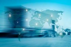 Il collegamento internazionale della mappa del mondo collega la rete Immagini Stock Libere da Diritti