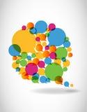 Il colloquio a colori il discorso bolle media sociali Immagini Stock