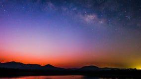 Il colore completo della Via Lattea Fotografia Stock