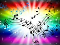 Il colore dei raggi di sole mostra Bass Clef And Audio Immagine Stock