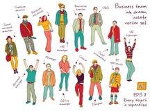 Il colore dell'inchiostro delle poste e dei caratteri del gruppo di affari isola le figure illustrazione di stock