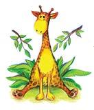 Il colore della giraffa colora il leef dolce giallo rosa Immagine Stock