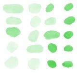 Il colore di acqua verde spazzola la raccolta di vettore Immagini Stock Libere da Diritti