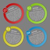 Il colore di vettore ha arrotondato le etichette di carta di opzione Fotografia Stock