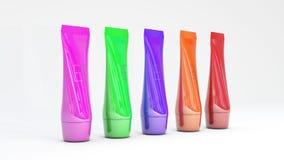 Il colore differente del modello degli annunci del tubo del fondamento imballa l'illustrazione differente crema del toner 3D dell Immagine Stock Libera da Diritti