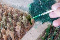 Il colore dipinto fa un modello di piantatura del riso Immagini Stock