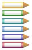 Il colore disegna a matita le icone illustrazione vettoriale