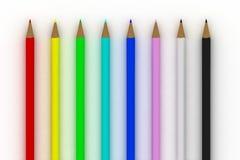 Il colore disegna a matita lo spettro su bianco Fotografie Stock Libere da Diritti