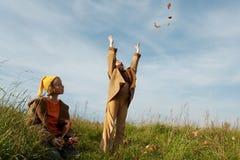 Il colore giallo ricopre gli gnomes Fotografie Stock