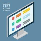 Il colore isometrico gradisce, seguace, icone di commento Desktop computer isometrico Immagine Stock