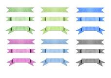 Il colore misto ha usato il nastro di carta dell'insegna su bianco Fotografia Stock Libera da Diritti