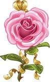 Il colore rosa è aumentato sotto forma dell'arco dell'oro e del cuore Immagine Stock