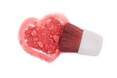 Il colore rosa arrossisce con la spazzola ed il cuore Fotografie Stock