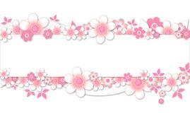 Il colore rosa fiorisce la bandiera Immagini Stock Libere da Diritti