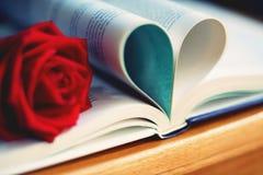 Il colore rosso adorabile è aumentato sul rotolo del libro in forma del cuore, il tono morbido di colore, concetto dolce della pr immagine stock