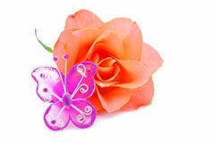 Il colore rosso della farfalla è aumentato Fotografia Stock
