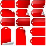Il colore rosso etichetta l'accumulazione Fotografia Stock