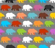 Il colore sopporta il modello senza cuciture Fondo degli orsi adorabili Fotografia Stock