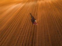 Il colpo aereo di un agricoltore che semina, seminante pota al campo Fotografie Stock Libere da Diritti