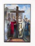 Il colpo anteriore della storia cristiana ha illustrato l'immagine santa sulla parete Immagini Stock
