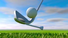 Il colpo 3d del golf del movimento lento rende video d archivio