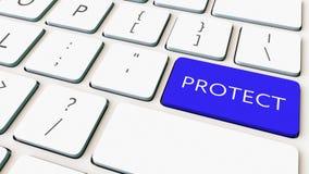 Il colpo del primo piano della tastiera di computer ed il blu proteggono la chiave Rappresentazione concettuale 3d Fotografia Stock