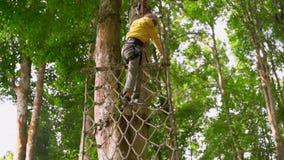 Il colpo lento di un ragazzino in un cavo di sicurezza scala su uno zipline in cime d'albero in un parco di avventura della fores video d archivio