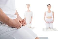 Il colpo potato della gente che medita su stuoie di yoga con Mudra gesture immagini stock libere da diritti