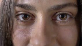 Il colpo vicino di giovane bello marrone della donna osserva esaminando la macchina fotografica, fronte della femmina incantante archivi video