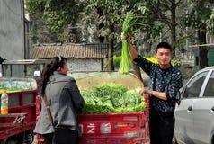 Pengzhou, Cina: Coltivatori con aglio verde Immagini Stock