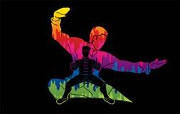 Il combattente di Kung Fu, azione di arti marziali posa il grafico del fumetto illustrazione di stock