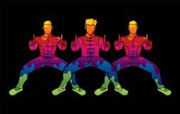Il combattente di Kung Fu, azione di arti marziali posa il grafico del fumetto illustrazione vettoriale