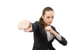 Il combattimento grazioso del responsabile di ufficio isolato su bianco Fotografia Stock