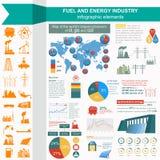 Il combustibile e l'industria energetica infographic, hanno messo gli elementi per creare Immagini Stock