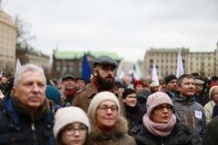 Il comitato di protesta la difesa della democrazia, Poznan, Polonia Immagini Stock