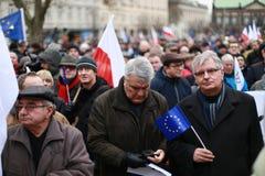 Il comitato di protesta la difesa della democrazia, Poznan, Polonia Fotografie Stock Libere da Diritti