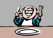 Il commensale affamato prevede l'alimento Immagine Stock Libera da Diritti