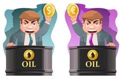 Il commerciante dell'olio tiene un simbolo del dollaro e un euro simbolo Immagine Stock