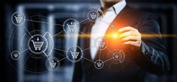 Il commercio elettronico aggiunge al concetto online di Internet della tecnologia di affari di acquisto del carretto fotografia stock libera da diritti