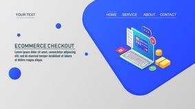 Il commercio elettronico checkout, online comperando, sistema di pagamento elettronico, modello d'atterraggio della pagina, vetto illustrazione vettoriale