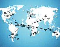 Il commercio elettronico del mondo rappresenta l'annuncio pubblicitario e la vendita d'acquisto Fotografia Stock Libera da Diritti
