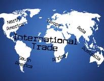 Il commercio internazionale indica attraverso The Globe e l'annuncio pubblicitario Immagine Stock Libera da Diritti