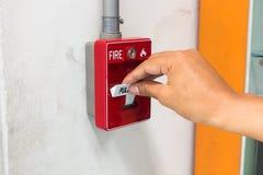 Il commutatore dell'allarme antincendio della maniglia di tirata Fotografia Stock Libera da Diritti