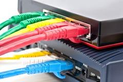 Il commutatore ed il router di Ethernet collegano la lan Immagini Stock Libere da Diritti