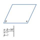 Il compito di trovare gli angoli dei parallelogrammi Fotografia Stock