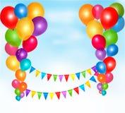 Il compleanno balloons la composizione nel blocco per grafici Immagini Stock Libere da Diritti