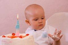 Il compleanno di sete - crema sulla mano Fotografia Stock Libera da Diritti