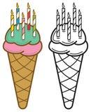Il compleanno esamina in controluce il cono gelato Immagine Stock